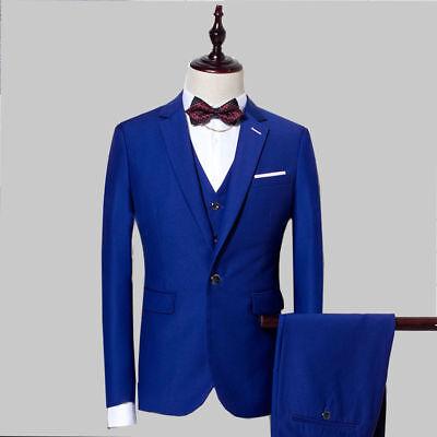 Royal Blue 3 Pieces Slim Fit Groom Tuxedo Best Men Formal Business Wedding