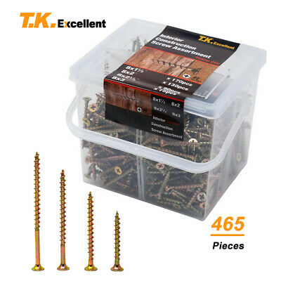 Wood Interior Construction Screws Drywall Deck Screws Assortment Kit465 Pcs
