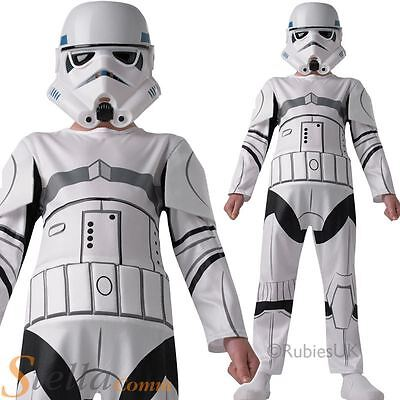 Boys Storm Trooper Star Wars Fancy Dress Costume Kids Childrens Outfit Ages 3-8