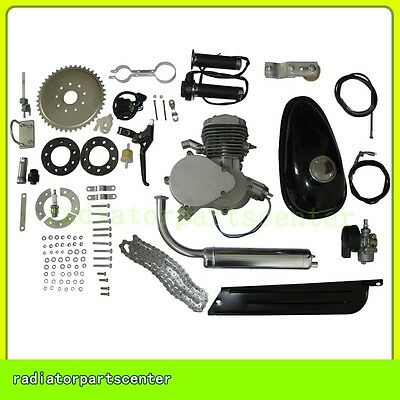 2 Stroke 80cc Bike Bicycle Motorized Cycle Silver Body Motor Engine Kit