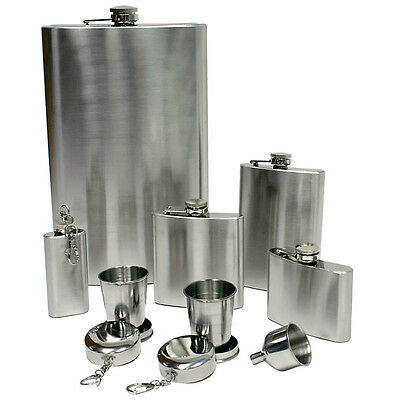New 8 piece 64 oz FLASK SET Funnel Shot Glasses Stainless Steel Liquor Screw Cap