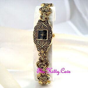 Edwardian-Deco-Vintage-Arabesque-Goth-Heart-Gold-Pl-Marcasite-Ladies-Dress-Watch