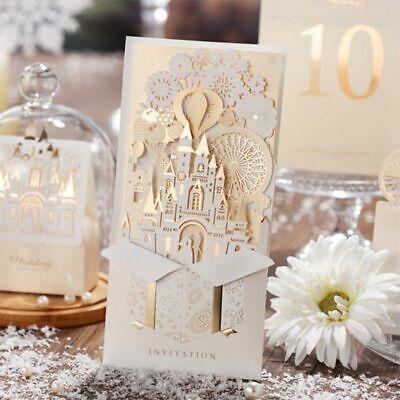 1Set Pack Wedding Invitations Lighting Cute Design Red White Castle Kit 3D Cards