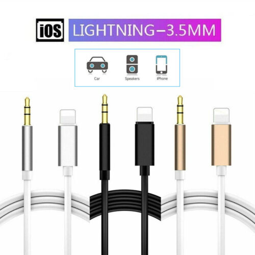 Lightning to Car Audio Adapter 3.5mm Jack AUX Male Cable For