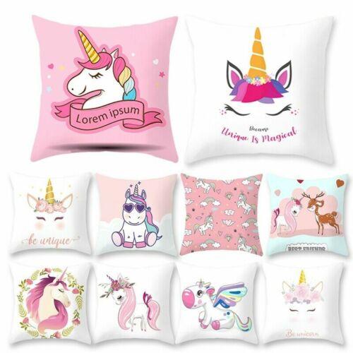 Unicorn Cushion Cover Cartoon Pillow Case Birthday Kids Gift