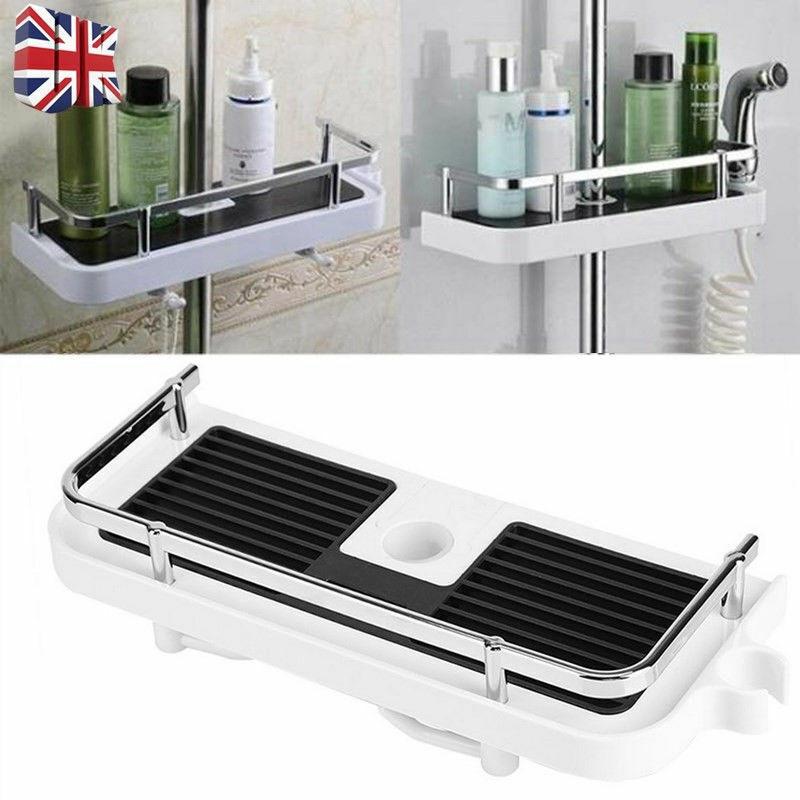 Bathroom Shelf Shower Storage Rack Organiser Hollow  Tray Holder Accessory Kit