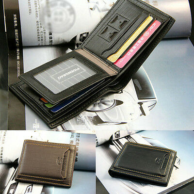 Men's Bifold Leather ID Credit Card Holder Pocket Money Purse Clutch Wallet