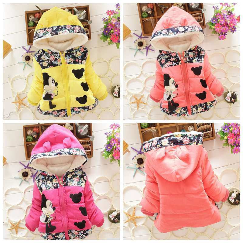 Toddler Baby Girls Minnie Mouse Hooded Clothes Winter Warm Outwear Jacket Coat