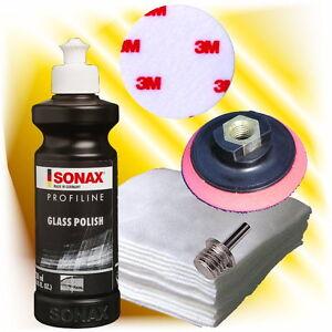 Sonax Glaspolitur Pad Polierfilz Polierteller 75 mm + Adapter Set