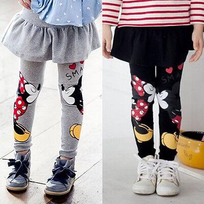 Kleinkind Mädchen Kinder MICKEY MINNIE Mouse Kleid Hosen Leggings Rock Slim Fit (Minnie Mouse Kleinkind Kleid)