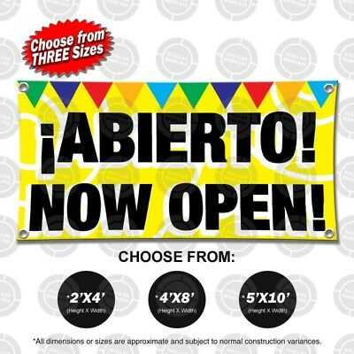 Abierto Now Open Banner Sign Display Flag Store Restaurant Shop Vinyl Anuncio
