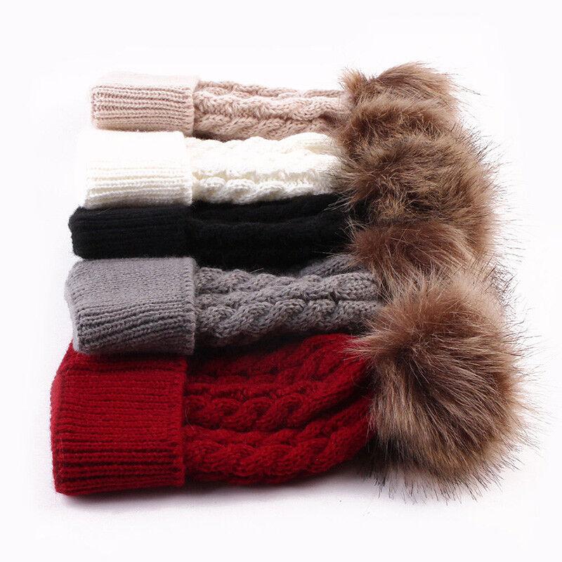 9c6411cbe29 US Seller Women Baby Warm Winter Knit Wool Beanie Fur Pom Bobble Hat  Crochet Cap 아이템 넘버  302628322803.