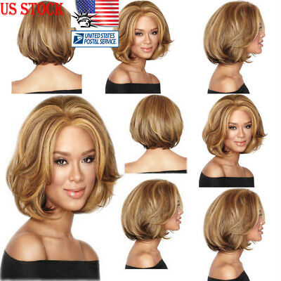 Short Wavy Bob Natural Hair Wigs Brazilian Brown Hair Women Full Lace Front Wigs](Curly Brown Wig)
