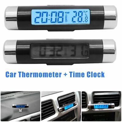 DE 2 in 1 Clip-on Digital LCD Thermometer + UHR für KFZ Auto Temperatur Neu - Thermometer Clip
