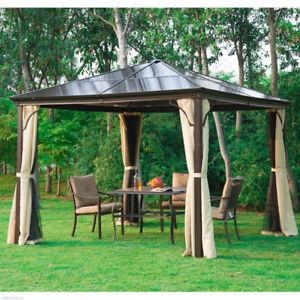 10x10 ft Deluxe Hard Top Gazebo Canopy Heavy Duty Patio Tent