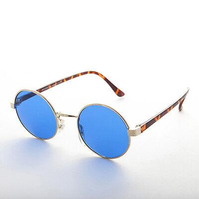 John Lennon Rund Bunten Vintage Sonnebrille Blaue Linsen/Goldrahmen - Dylan