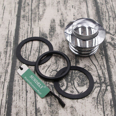 Motorcycle Silver Flush Pop Up Reservoir Gas Cap Vented Fuel Tank For Harley