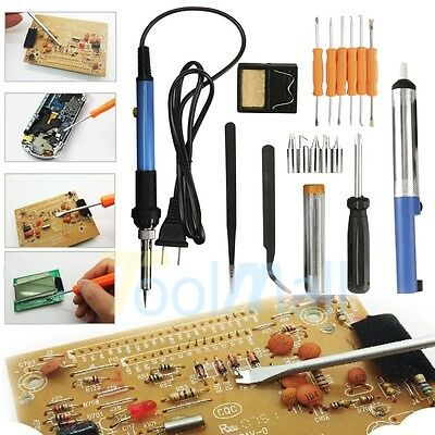 Pro 60W Adjustable Electric Temperature Gun Welding Soldering Iron Tool Kit Set