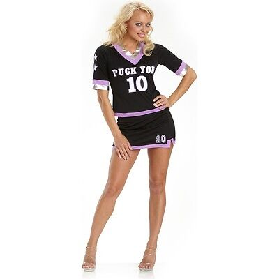 Hockey Kostüm (Ladies PUCK YOU Hockey Costume Sports Jersey Shirt Mini Skirt Adult Medium 8 10)