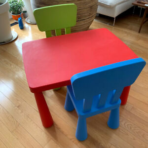 Ikea MAMMUT complete children's table and chairs set