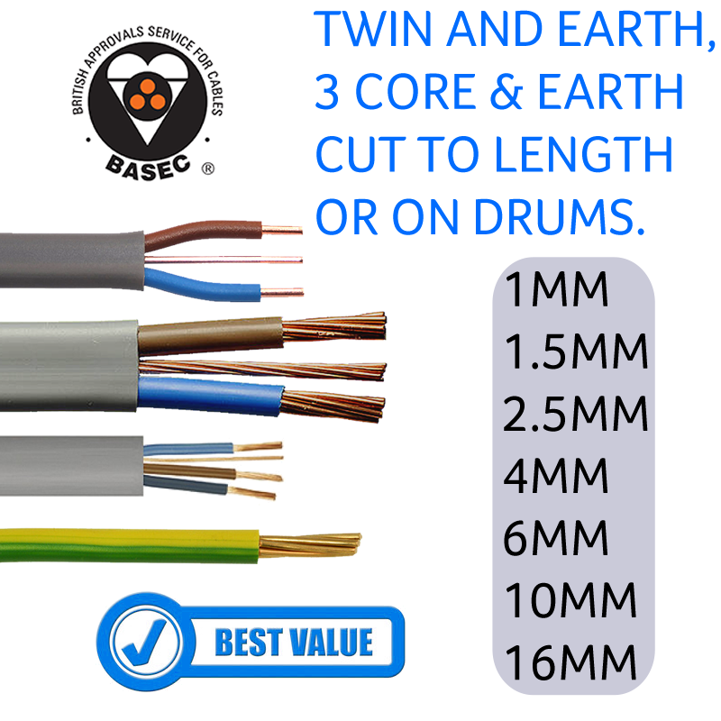 6242Y TWIN AND EARTH ELECTRICAL CABLE WIRE GENUINE BASEC PVC INSULTED 1mm-10mm