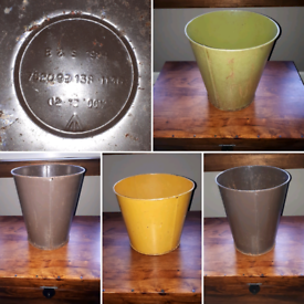 Vintage Military Issued Metal Waste Bins