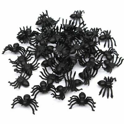 50x Plastic Black Spider Trick Toy Halloween Haunted House Prop Decor P7Q6