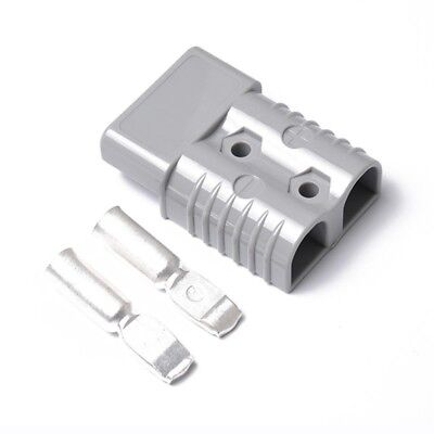 50a 600v Forklift Battery Connector Adapter Plug With 2 Ports Power Plug Gray
