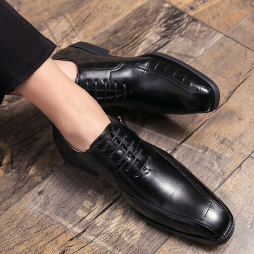 Details about  /Mens Faux Leather Business Leisure Shoes Work Office Oxfords Wedding Lace up L