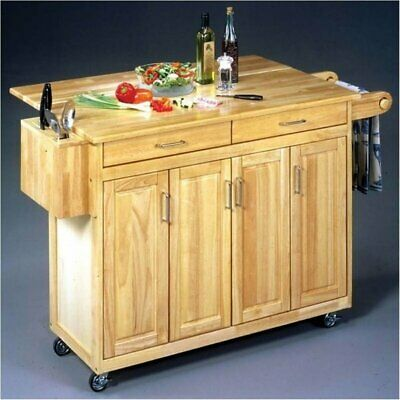 Kitchen Cart With Breakfast Bar - Bowery Hill Kitchen Cart with Breakfast Bar in Natural