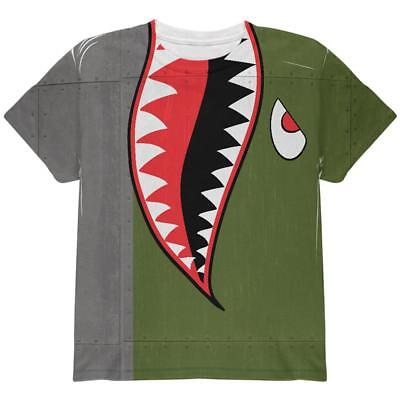 Halloween WWII Flying Tiger Fighter Shark Nose Art All Over Youth T Shirt](Tiger Nose Halloween)