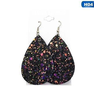 - BRAND NEW Trendy Earrings Faux Leather Glitter Teardrop 😍 BLACK