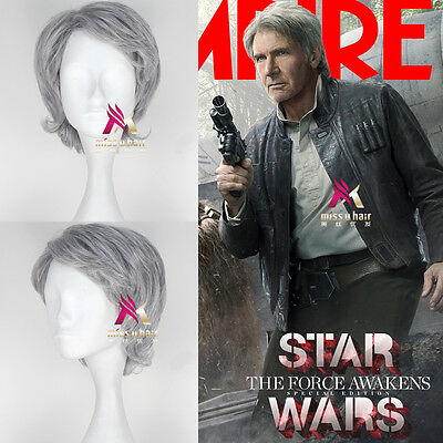 Han Solo Wig (2019 The Force Awakens Han Solo Silver/Gray Short Cosplay Party Wig)