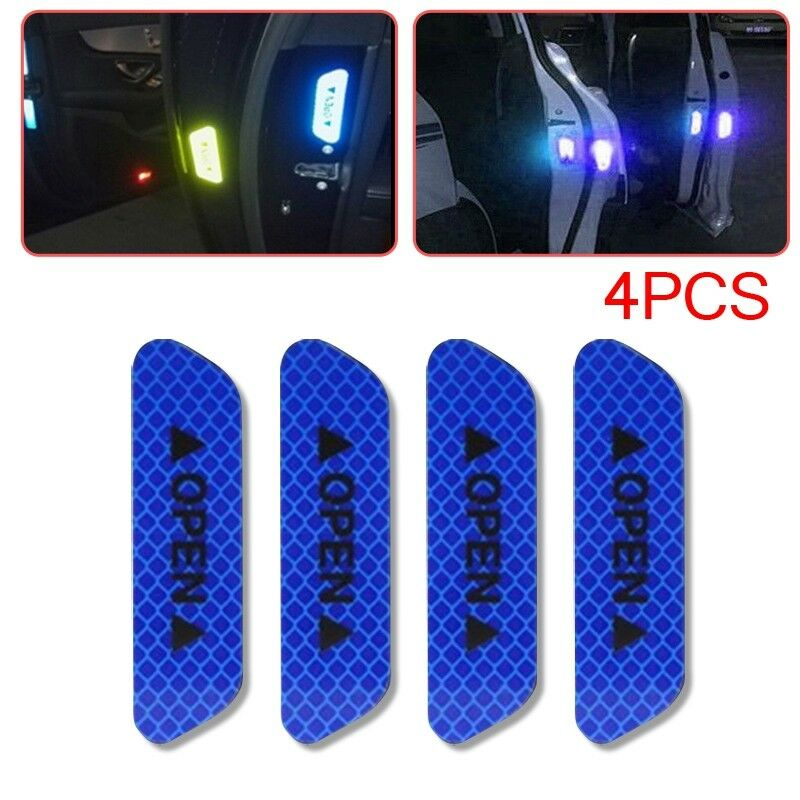 Car Parts - 4x Super Blue Car Door Open Sticker Reflective Tape Safety Warning Decal