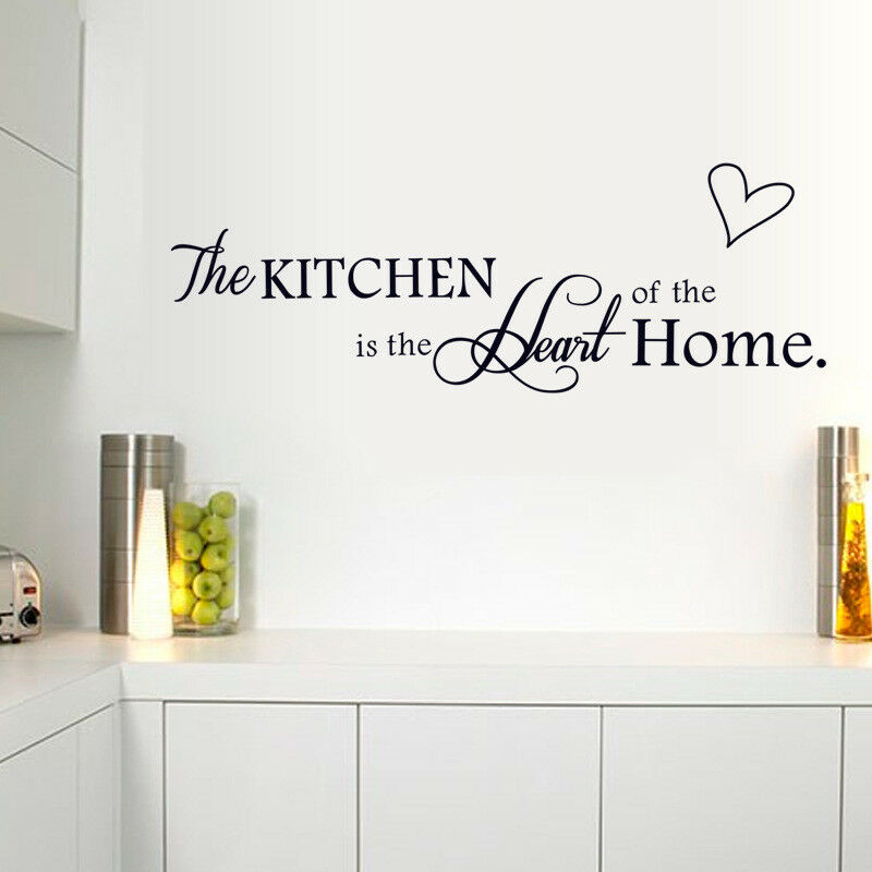 Home Decoration - The Kitchen Heart Home Quote Wall Stickers Art Dining Room Removable Decal DIY