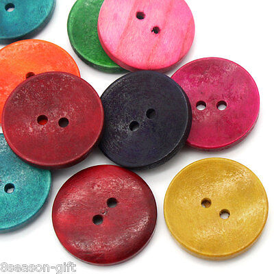 50Pcs Wood Sewing Buttons Scrapbooking 2 Holes Round Mixed 3Cm 1 1 8  Dia