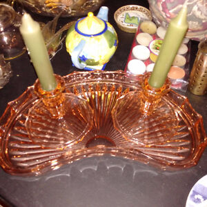 Pink Depression Glass - candle stands and tray
