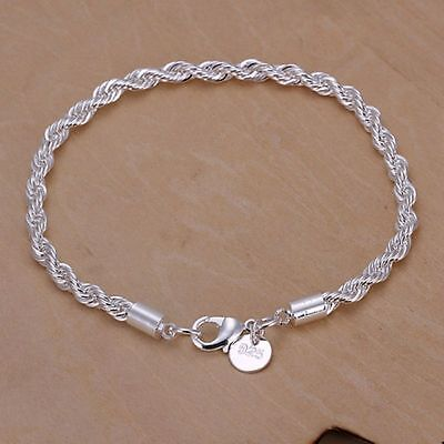 Women 925 Sterling Silver Plated Twist Rope Charm Chain Bangle Bracelet Jewelry