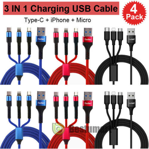4 Pack Multi 3 in 1 USB Charger Charging Cable Cord Micro US