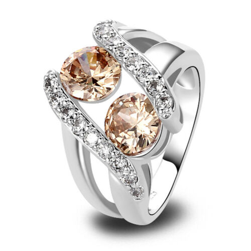 Ladys-Round-Cut-Morganite-White-Sapphire-Gemstones-Silver-Ring-Size-7-8-9-10