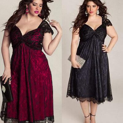 2017 plus SIZE Women Lace Summer Dress Swing Cocktail Clubwear Long Maxi Dress - Plus Size Women Clubwear