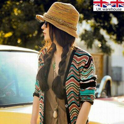 1x Boho Lady Panama Colorful Women Striped Foldable Straw Hat Beach Summer Sun