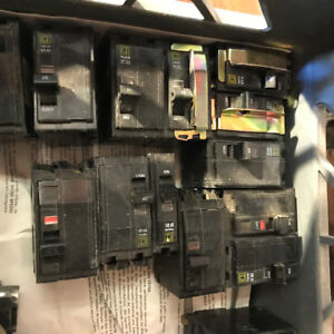 66 SQUARE D ASSORTED ELECTRICAL BREAKERS