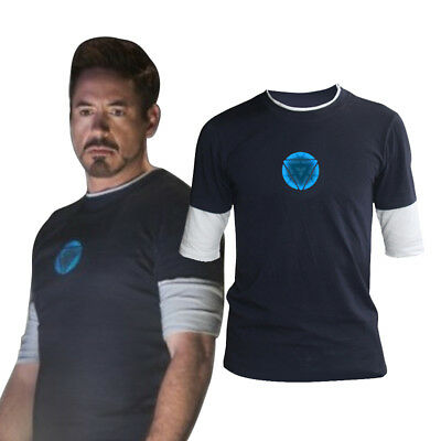 Tony Stark T-shirts Night Cosplay Costumes Navy Tops Tees (Costumes T Shirts)