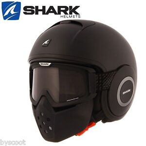 casque shark raw drak blank mat noir jet moto scooter. Black Bedroom Furniture Sets. Home Design Ideas