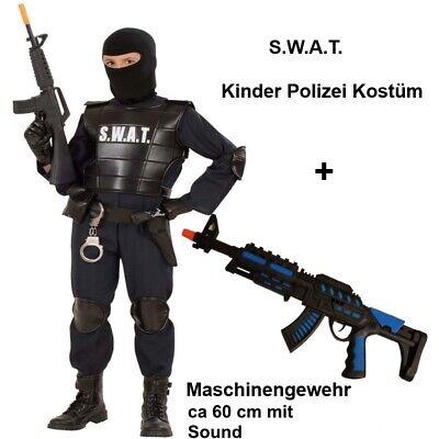 SWAT Agent Kinder Polizei Kostüm + Spielzeug Maschinengewehr - Kind Swat Polizei Kostüme