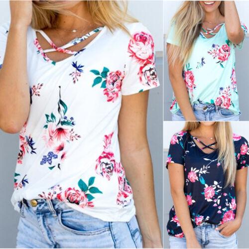 Women Summer Short Sleeve Floral Shirt Blouse Tops Loose T S