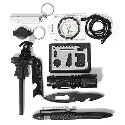 SOS Survival Emergency Gear Self Help Outdoor Camping Travel Hiking Tool Box Kit
