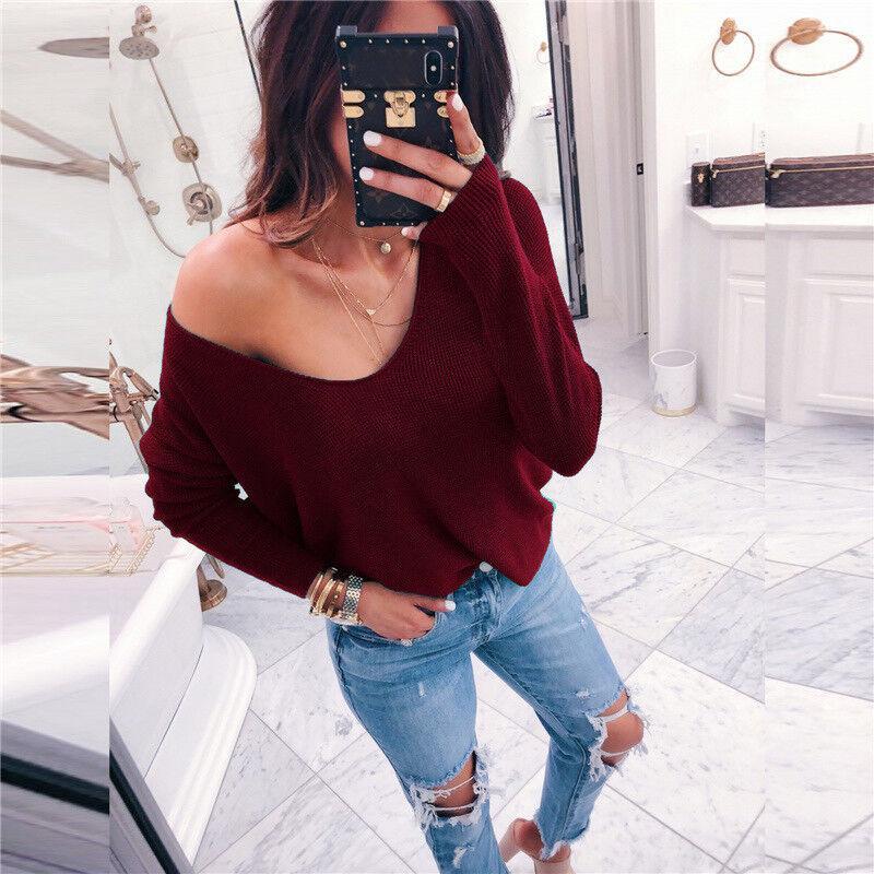 Damen Sweater Strickpullover Pulli Sweatshirt V-Ausschnitt Bluse Langarm T Shirt