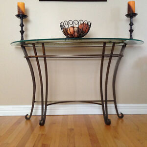 Glass and Iron Sofa Table